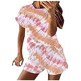YANFANG Conjunto de chándal de 2 Piezas para Mujer, con Estampado de teñido Anudado para Mujer, Manga Corta, Informal, Deportivo, Pink,S