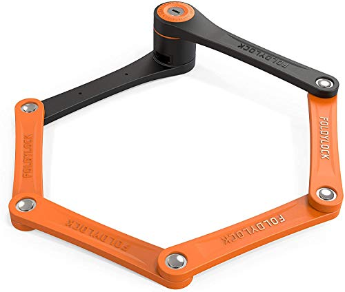 FOLDYLOCK Compact Bike Lock Orange, Extreme Bicycle Lock - Heavy Duty Security Bike Chain Lock Steel Bars Carrying Case Included, Unfolds to 85cm or 33.5in, 2.2lb