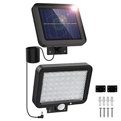 Lampara Solar Exterior LED Foco con Sensor Movimiento, Proyector Led Impermeable IP65 Floodlight Led Foco Blanco Frío 6000K Exterior Iluminación para Patio, Almacén, Camino, Jardín