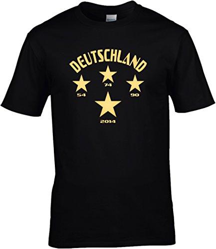T-Shirt Herren WM Shirt Deutschland Fussball Shirt 4 Sterne 54 74 90 2014 Weltmeister WM 2018, T-Shirt, Grösse XXXXL, schwarz