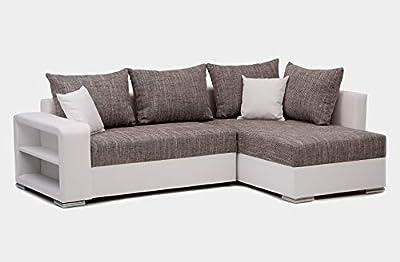 Convertible en lit avec une surface plane de 195x145 cm Assise et banquette en mousse pour un confort optimal Tissu en microfibre doux au toucher pour un confort durable Espace de stockage [Méridienne]