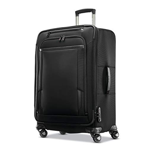 Samsonite Pro Travel Softside Expandable Luggage with Spinner Wheels, Black, Checked-Medium 25-Inch