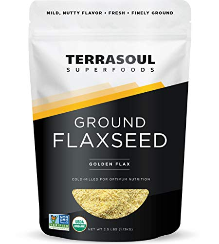 Terrasoul Superfoods Organic Ground Flax Seeds, 2.5 Pound - Finely Ground | Smooth Texture | Golden Flax