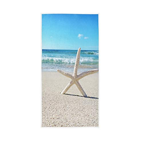 Starfish On The Beach Hand Towels for Bathroom Soft Absorbent Small Bath Towel Kitchen Dish Guest Towel 30'x15'