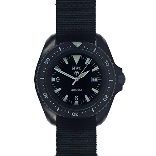 MWC 1999-2001 Pattern Cuarzo Suizo Acero PVD Negro Tejido NATO Militar Vintage Reloj Hombre