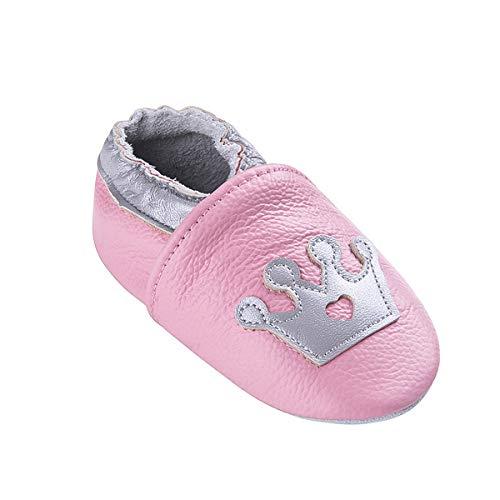 Weiche Leder Babyschuhe mit Mokassins Wildledersohlen für Kleinkinder Kleinkinder Jungen Mädchen Prewalker Schuhe (6-12 Monate, Rosa Krone)