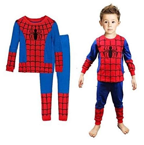 Boys Pajamas Sets Children Christmas Pants 100% Cotton Spider-Man Long Kids Snug Fit Pjs Winter Toddler Sleepwear (Red, 2T)