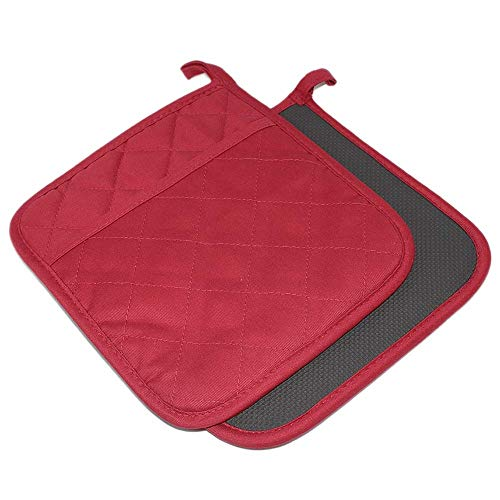 """YEKOO Cotton and Neoprene Oven Pads Pot Holder with Pocket 8""""x8.5"""" Dual-Function Hot Pad Set for Finger Hand Wrist Protection Heat Resistant to 428°F Red"""