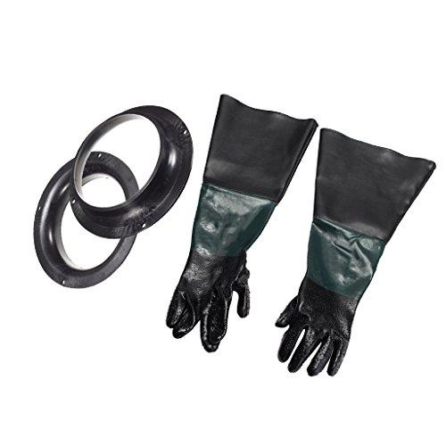 600mm Lang Sandstrahlhandschuhe Handschuhe für Sandstrahlkabine Sandstrahlenschutz Teichpflege