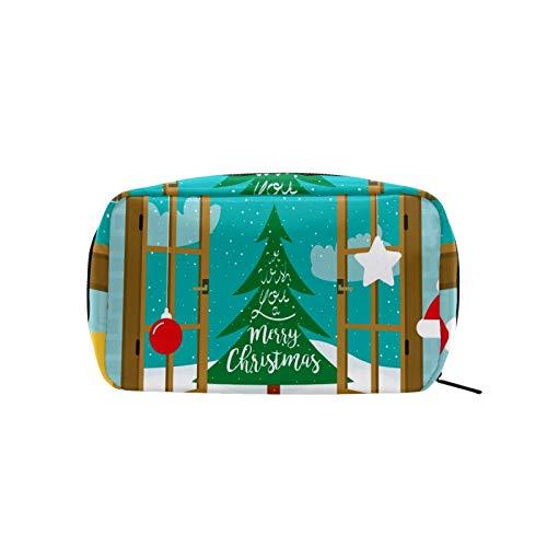 Kosmetiktasche mit Weihnachtsbaum und Fenster, Reise-Make-up-Tasche für Frauen und Mädchen, leicht, personalisierte Aufbewahrung, Kulturbeutel