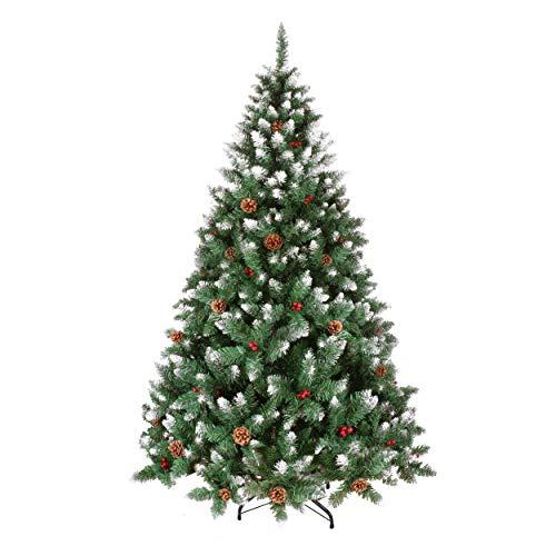 YOUKE Albero di Natale Artificiale di Pino Dolce Glassato Decorato con Pigne e Bacche...
