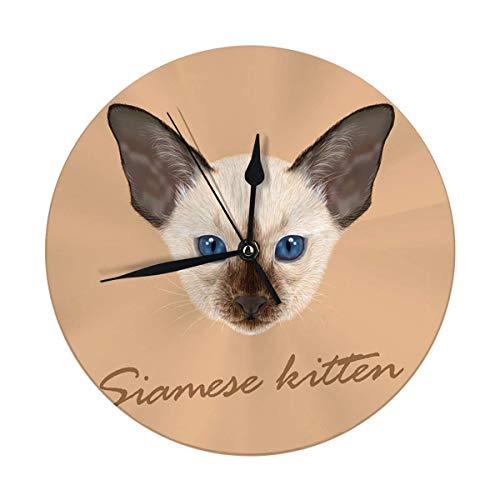 Mesllings Reloj de pared con diseño de gato siamés con ojos azules y ojos azules en color marrón