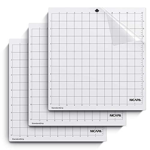 NICAPA Schneidematte für Silhouette Cameo 4/3/2/1 [Standardgriff, 12x12 Zoll, 3er-Pack] Haftende und rutschfeste Flexible gerasterte Schneidematten Ersatzmatten Zubehörset Vinyl Craft Sewing