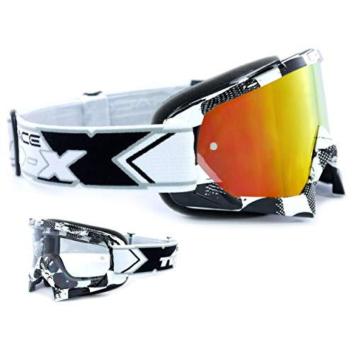 TWO-X Race Crossbrille Factory schwarz Weiss Glas verspiegelt Iridium MX Brille Motocross Enduro Spiegelglas Motorradbrille Anti Scratch MX Schutzbrille
