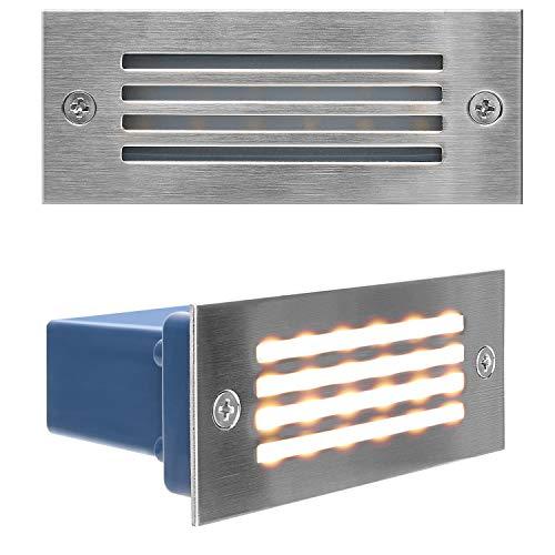 JACKYLED Stainless Steel Step Lights IP65 Waterproof LED Deck Light Indoor/Outdoor Horizontal Stair Lighting 3000K 3W UL Certified 120V for Stairway Garden Corridor Pathway 2-Pack Warm Light