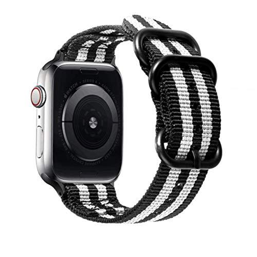 Correa de nailon para Apple Watch, pulsera deportiva con lazo, accesorios de pulsera para iWatch Series SE / 6/5/4/3/2/1-Negro con gris, 42 mm o 44 mm