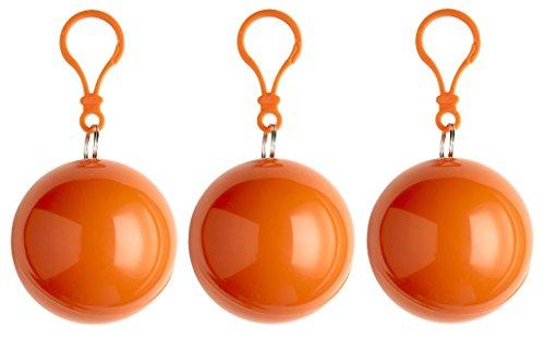 sinsey 3er Set Poncho Notfall-Poncho Regenponcho Regencape (orange)