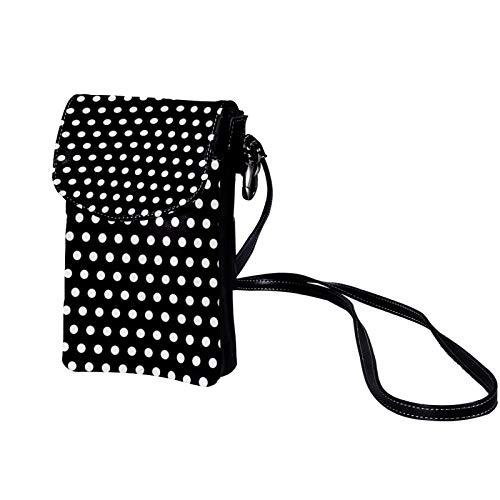 Bolso de teléfono móvil para Mujer Lunares Negro Blanco Mini Bolso de teléfono Celular Monedero doble de Cuero con ranura para tarjeta de crédito 19x12x2cm