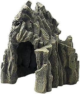 الجمجمة جبل الحوض الحوض حلية خزان الأسماك زينة التضاريس الصغيرة مشهد الزينة للزواحف هالوين ديكور