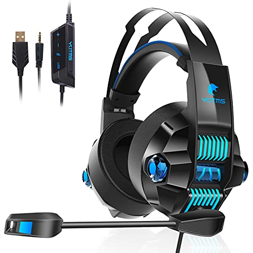 Xbox One Gaming Headset für PS4, PS5, PC, Nintendo Switch, YOTMS Y1 Stereo Over Ear Kopfhörer mit Mikrofon, RGB-Licht, Pro Komfortabler Ohrenschützer-Kopfhörer für Laptop Mac Tablet Blau