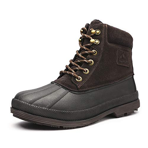 NORTIV 8 Men's Cold Weather Winter Boots Mid Ankle Non Slip Insulated Warm Hiking Snow Boots Brown Size 8.5 M US Felton-3