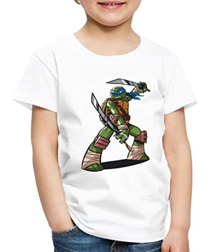 Spreadshirt Tortues Ninja Leonardo À L'Attaque T-Shirt Premium Enfant, 2 Ans, Blanc