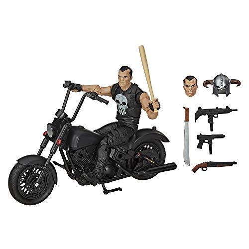 Hasbro Marvel Legends Series 15 cm große The Punisher Action-Figur mit Motorrad, Premium-Design und 7 Accessoires