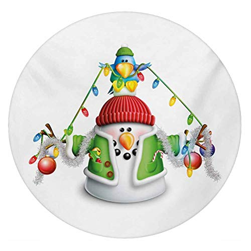 LCGGDB Snowman 3D Decorative Window Film,Cartoon Whimsical Character with Christmas Garland Blue Bird Various Xmas Elements Frosted Window Glass Film for Home Office,Round 18'x18',Multicolor