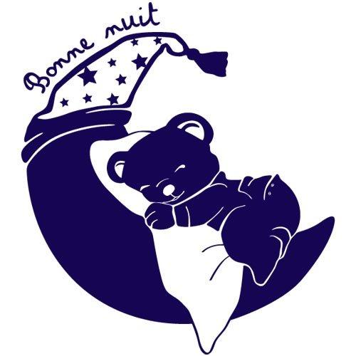 sticker petit ourson rêveur Bleu marine 98x110 cm