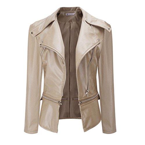 BURFLY Winter Warme Mantel Demen Faux Kragen Kurzmantel Lederjacke Parka Mantel Outwear (XXL, Beige)