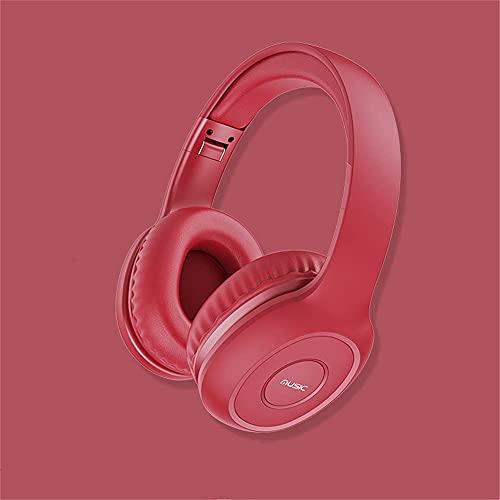 Auriculares inalámbricos Sonido Envolvente Activo Reducción de Ruido Micrófono Auriculares Bluetooth para Xbox One PC PS4 Teléfono portátil, Negro (Color : Red)
