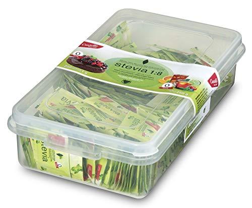 Castelló Since 1907 Edulcorante Stevia + Eritritol 1:8 - Envase alimentario reutilizable con 250 sobres x 1g