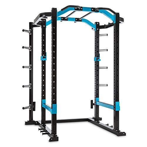 CapitalSports Amazor Pro - Jaula de musculación Multifuncional, hasta 500 kg, J-Cups para 350 kg, Monkey Bars para 200 kg, Barra de dominadas para 150 kg, Ajustable, Acero Revestido Polvo, Antracita