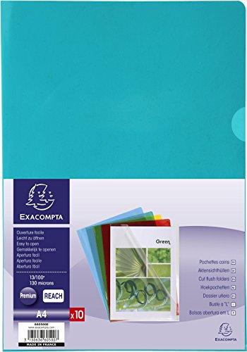 Exacompta 660500E - Bolsa de 10 dossiers en PVC, A4, multicolor