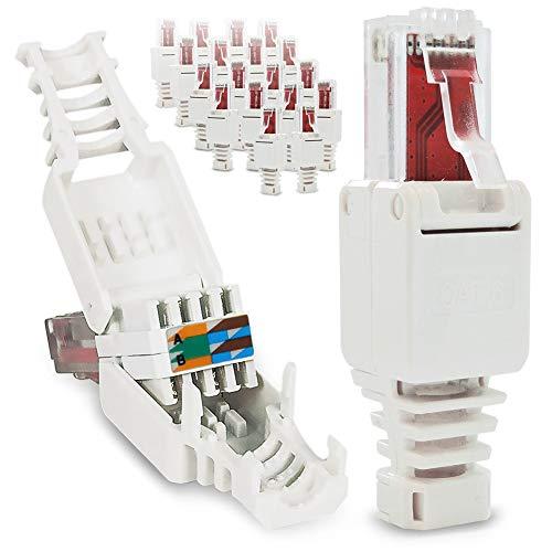 UC-Express 20x Netzwerkstecker werkzeuglos RJ45 CAT6 LAN UTP Kabel Stecker ohne Werkzeug werkzeugfrei CAT5 CAT7 Verlegekabel Patchkabel Netzwerkkabel Toolless Modular Plug Connector Crimpstecker