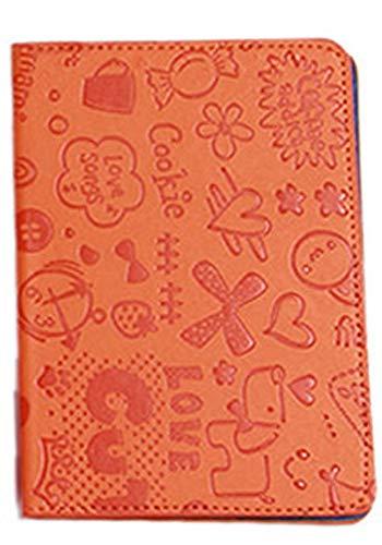 GPTパスポートカバー ケース コミック柄 イラスト PUレザー 子供 キッズ 海外旅行 旅行 トラベルグッズ おしゃれ 可愛い アウトレット オレンジ