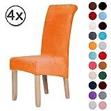 Fundas antideslizantes de terciopelo resistente para sillas de comedor - Fundas de silla corta de felpa Spandex Funda de comedor grande y sólida...
