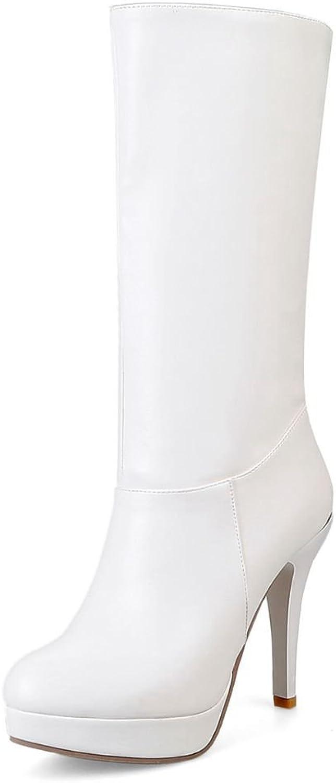 SaraIris Women's Round Toe Spikes Stilettos Platfrom Slip on Elegant Mid Calf Boots