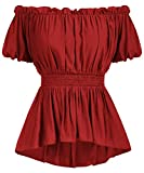 Women's Pirate Clothing Renaissance Victorian Steampunk Tops Blouse Wine Red XXL