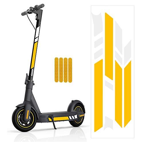 Minghaoyuan - Adhesivo reflectante para scooter, impermeable, reflectante, adhesivos, decorativos, para scooter, accesorios para patinetes NINEBOT MAX G30 max G30D, color amarillo