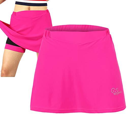 Culotes Ciclismo Mujer,  para Mujer 2 en 1 Transpirable Pantalones Cortos de Bicicleta con Gel 3D Acolchada, Verano Falda Corta de Ciclismo, Transpirable Pantalones Cortos De Ci(Size:L, Color:Rojo)