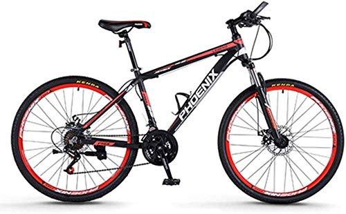 21 Velocità 26 pollici Mountain Bike Leggero Telaio in lega di alluminio Ammortizzatore Forcella anteriore Kone Freni a disco fuoristrada Bici da strada per studenti Uomini Donne-Nero rosso_26 pollici