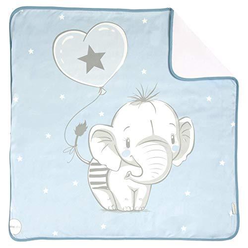 Arrullo para bebé estampado punto de algodón (80 x 80 cm) ELEFANTINO AZUL