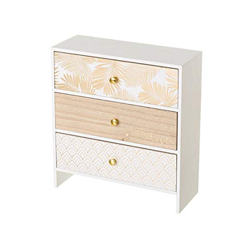 Caja joyero con 3 cajones de Madera Blanca exótica, de