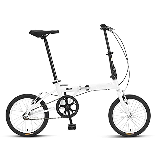 ROYWY Bicicleta Plegable para Adultos, 16 Pulgadas Bike Sport Adventure,Bicicletas Plegables portátiles ultraligeras para Hombres y Mujeres -B/White / 16inch