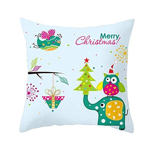 Fovien - Federa natalizia per cuscino da divano, con stampa natalizia, 45 x 45 cm