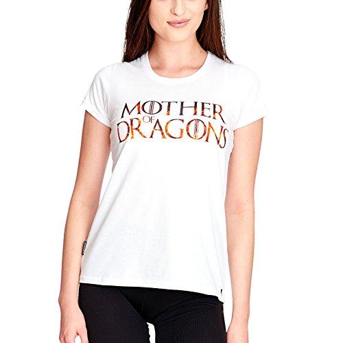 Elbenwald Madre de Dragones Camiseta de Las señoras para el Juego de Tronos Ventiladores de algodón Blanco M