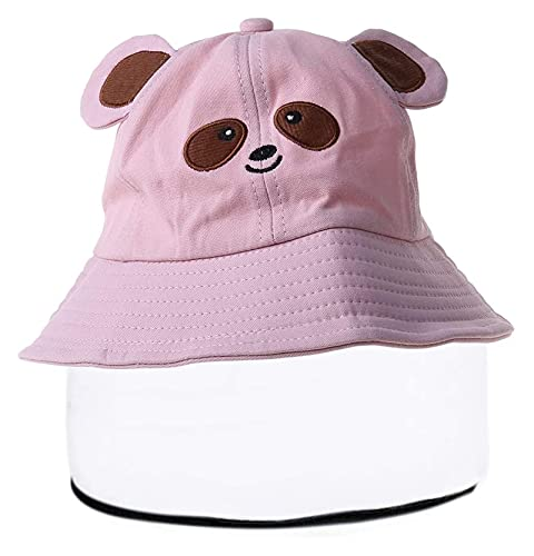 Seupeak Niños para niños Bebé Bebé Cubo Protector Sombrero Claro Visor Cara Completa Escudo de Dibujos Animados Panda Oríteos Anti-Saliva Pescador Gorra para Senderismo al Aire Libre (Color : PK)