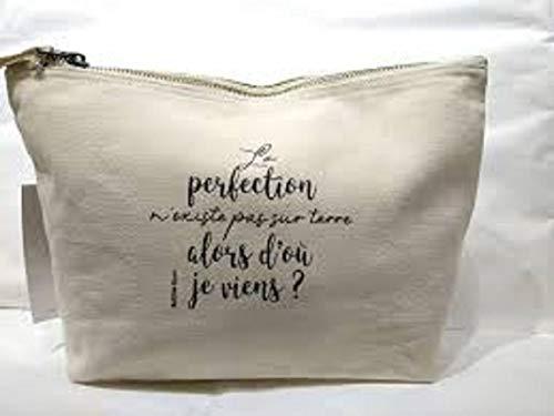 Bubble gum, Trousse M Naturel en Coton La Perfection n'existe Pas 28x17cm