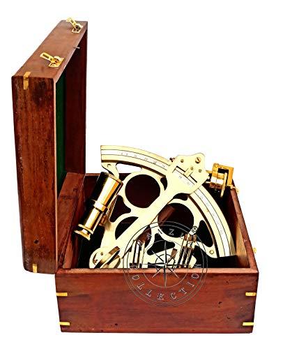 Hanzla Collection Schiff, 22,9 cm, poliertes Messing, Sextant, Marine, nautisches Sammlerstück mit Holzbox